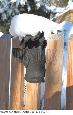 Lost Glove An A Timber Fence In Germany