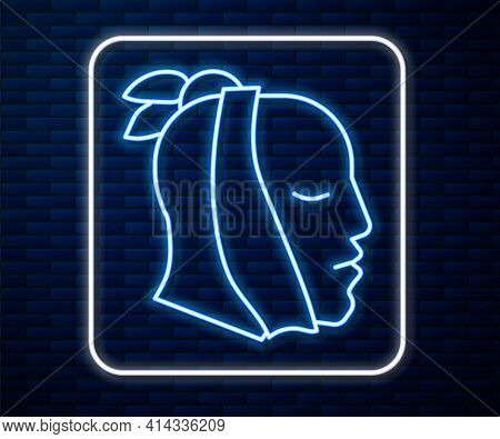 Glowing Neon Line Toothache Icon Isolated On Brick Wall Background. Vector