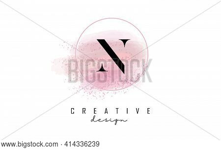 N Letter Logo Design With Glittery Round Frame And Pink Watercolor Background. Creative Vector Illus