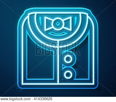 Glowing Neon Line Suit Icon Isolated On Blue Background. Tuxedo. Wedding Suits With Necktie. Vector