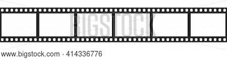 Cinema Filmstrip Roll On White Background. Blank Negative Film. 35mm Film Slide Frame. Cinema Or Pho