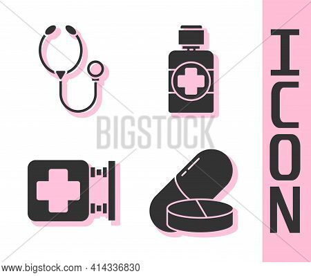 Set Medicine Pill Or Tablet, Stethoscope, Hospital Signboard And Bottle Of Medicine Syrup Icon. Vect