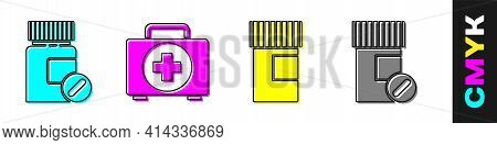 Set Medicine Bottle And Pills, First Aid Kit, Medicine Bottle And Medicine Bottle And Pills Icon. Ve