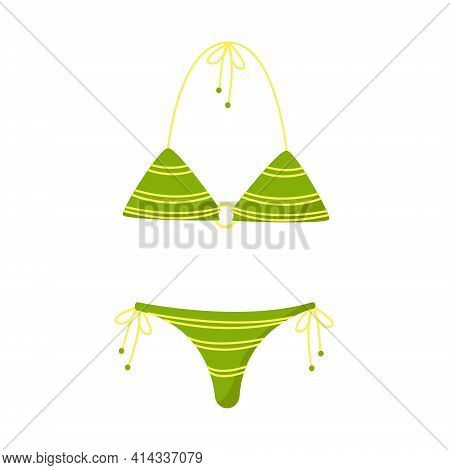 Green Womens Separate Swimsuit, Swimsuit For Swimming And Sunbathing On The Beach, Vector Clip Art O