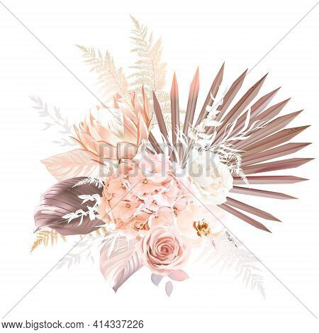 Trendy Dried Palm Leaves, Orange, White Rose, Rust Protea, Orchid, Hydrangea, Pampas Grass