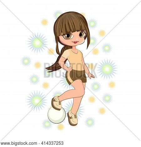Little Girl In Sports Shorts And A T-shirt. Flirts. Handsome Fashionable Child. The Isolated Object