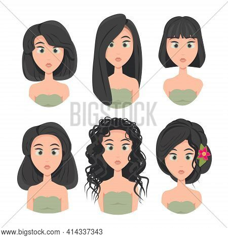 Set Of Model Haircuts And Hairstyles, Portrait Of A Girl With Different Haircuts, Hair Length, Girls
