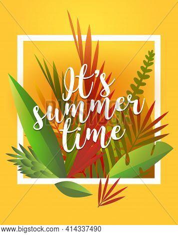 Summer Time Background Illustration. Hello Summer Traveling Template Poster , Vector Illustration.