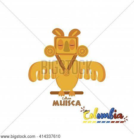 Muisca Culture Sculpture. Colombian Culture - Vector Illustration