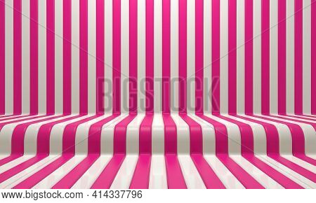 Realistic Abstract Geometric Background With Red And White Convergence Stripes With Shadows And Glar