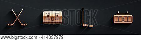 Set Ice Hockey Sticks, Hockey Mechanical Scoreboard, Ice Hockey Stick And Puck And Hockey Mechanical