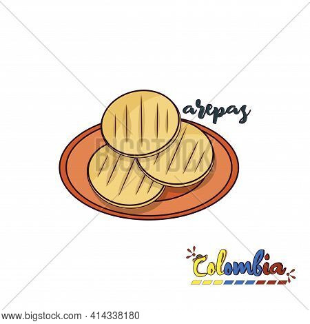 Colombian Arepas Plate. Colombian Food - Vector Illustration