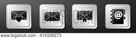 Set Envelope With Valentine Heart, Envelope, Envelope With Star And Address Book Icon. Silver Square