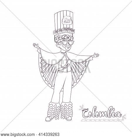 Man Dressed As King Momo. Colombian Culture - Vector Illustration