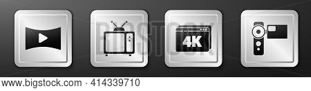 Set Online Play Video, Retro Tv, Online Play Video With 4k And Cinema Camera Icon. Silver Square But
