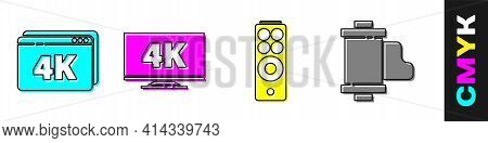 Set Online Play Video With 4k, Screen Tv With 4k, Remote Control And Camera Vintage Film Roll Cartri