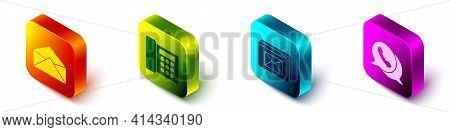 Set Isometric Envelope, Telephone, Website And Envelope And Telephone With Speech Bubble Chat Icon.