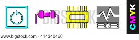 Set Electric Light Switch, Resistor Electricity, Processor With Microcircuits Cpu And Electrical Mea