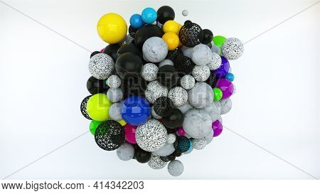 Large Round 3d Render Formation Of Numerous Layering Heaps Bubbles. Bright Budding Balls With Graphi