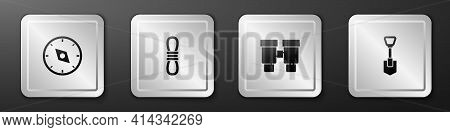 Set Compass, Climber Rope, Binoculars And Shovel Icon. Silver Square Button. Vector