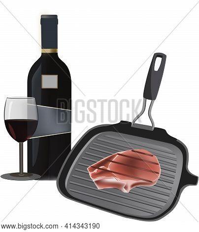 Cast Iron Pan With Steak Cast Iron Pan With Steak