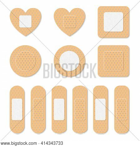 Adhesive Bandage Elastic Medical Plasters Set Isolated. Art Design Medical Elastic Patch. Abstract C