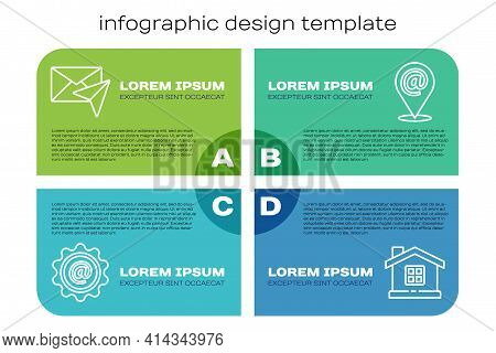 Set Line Mail And E-mail, Envelope, House And Location And Mail And E-mail. Business Infographic Tem