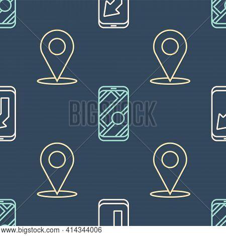 Set Line City Map Navigation, Location And City Map Navigation On Seamless Pattern. Vector