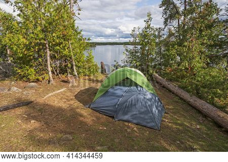 Campsite In The Great North Woods On Alpine Lake In The Boundary Waters In Minnesota