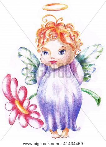 the Baby Is Angel With Flower
