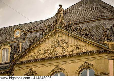 Sculptures And Stucco On The Balustrade Of The New Castle (neues Schloss) On The Palace Square. Stut