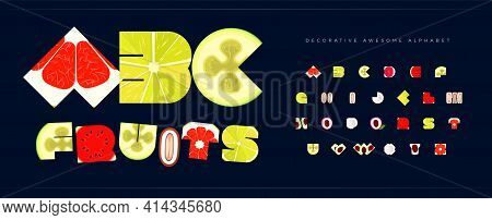 Fresh Fruit Font For Logo Tropical Fruity. Alphabet For Restaurant And Cafe, Menu Letters Set. Decor