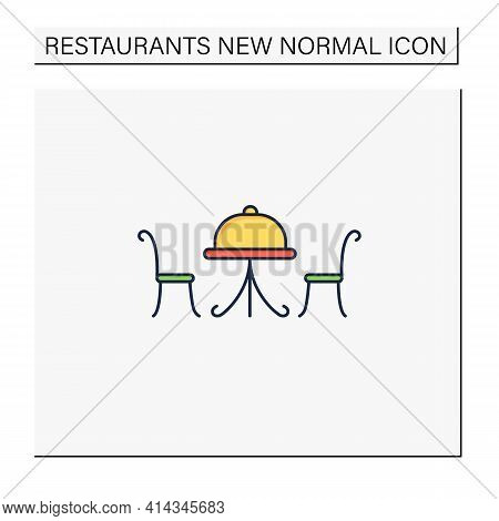Outdoor Dining Color Icon. Personal Dinner In Restaurant Outdoor.forced Distance.regulation Through