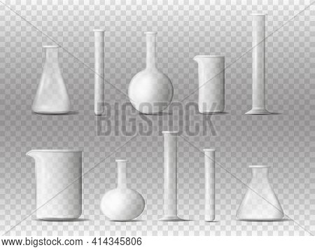 Laboratory Equipment. 3d Realistic Chemistry Lab Measuring Glassware. Laboratory Transparent Chemica