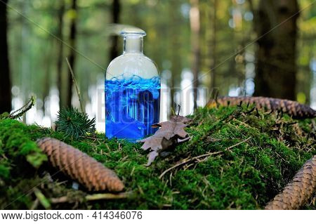 Herbal Blue Potion.herbal Elixir On A Mossy Stump On A Blurred Forest Background.magic Potion. Homeo