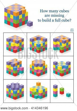 Missing Cubes. How Many Gaps, Holes, Blanks Are There To Get A Full Cube? 3d Spatial Perception Exer