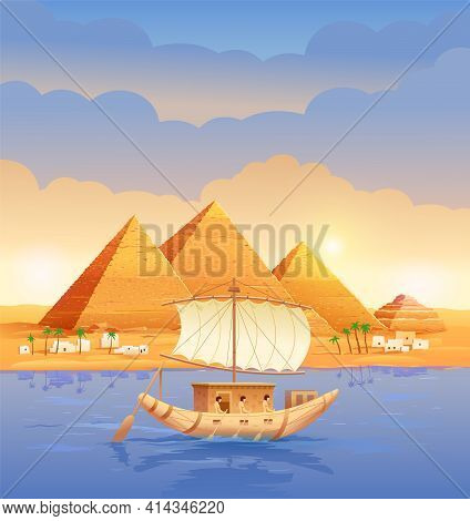 Pyramids Of Egypt. Egyptian Pyramids In The Evening On The River. Pyramid Of Cheops In Cairo, In Giz