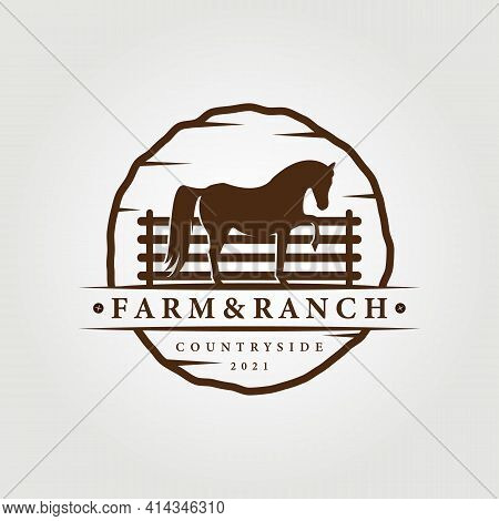 Farm, Ranch Logo, Horse Logo Vector Illustration Design Graphic , Unicorn Icon, Vintage Farm And Ran