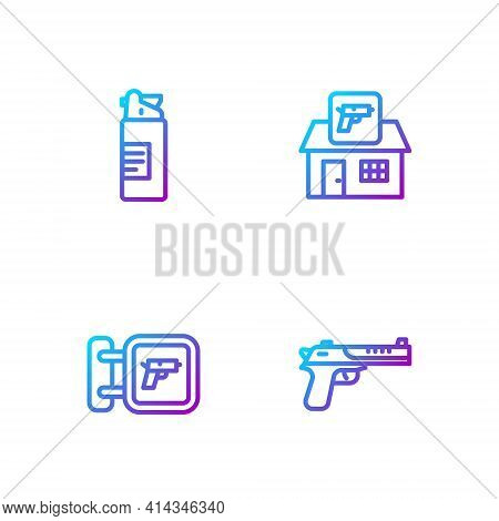Set Line Desert Eagle Gun, Hunting Shop Weapon, Weapons Oil Bottle And . Gradient Color Icons. Vecto