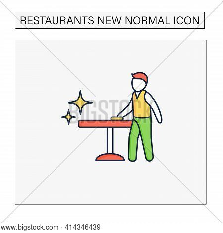 Disinfection Line Icon. Employee Disinfect Tables. Wet Cleaning. Furniture Disinfect. Regulation Thr