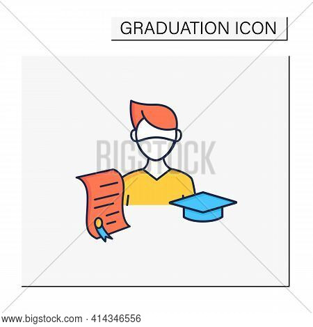 Undergraduate Student Color Icon. Personal Growth. Education Process. Bachelor Degree. Person Studyi