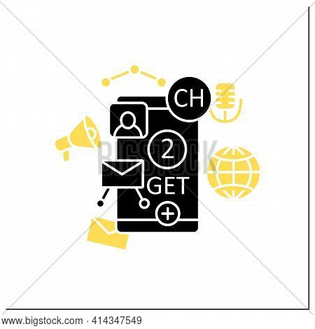 Drop-in-audio Chat Invite Glyph Icon. Communication Application With Friends.invitation Link. Invite