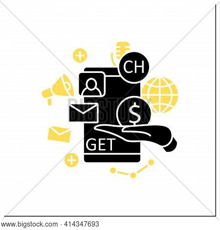 Chat Invite Buy Glyph Icon. Shares Purchase.communication Application With Friends.invitation Link.