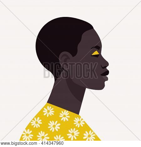 Young African Woman With Short Hair. Portrait Of Beautiful African Woman. Abstract Female Portrait,