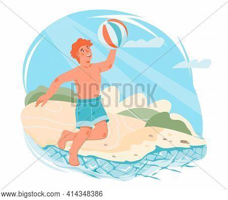 Cute Boy Playing With A Ball On The Coast Of The Sea Beach. Boy Cartoon Character Enjoying Summer Va