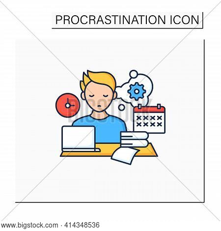 Defier Procrastinator Color Icon.avoid New Tasks. Finding Reasons Not Complete Tasks.procrastination