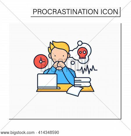 Worrier Procrastinator Color Icon.do Not Start Important, Difficult Tasks. Unbelieve To Do It.scared