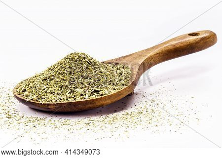 Wooden Spoon With Yerba Mate On Isolated White Background