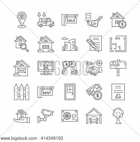 Large Set Of Black And White Line Drawn Property Icons For The Sale, Rental, Purchase, Location, Han