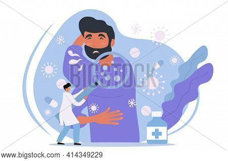 Male Character With Cold Symptoms Sneezing And Coughing. Sick Person Illness With Cough And Sneeze.
